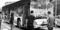 沈阳231路公交车追尾大客车 风挡玻璃遭撞击破碎 - 新浪辽宁