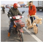 铁岭:2.2万根雪糕棍制成祥龙自行车(图) - 辽宁频道